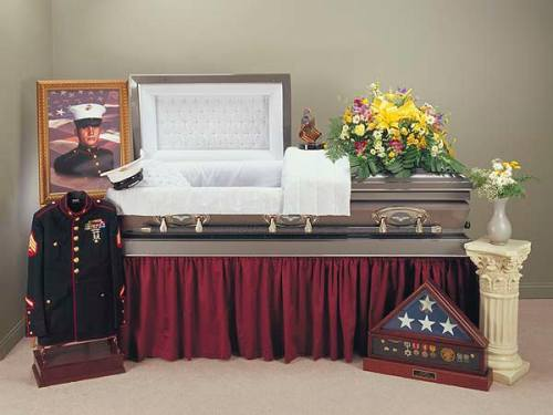 vet funeral set up