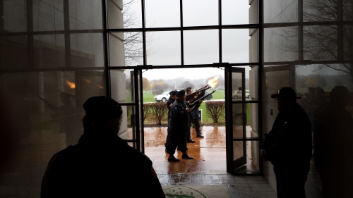 Gun salute as part of the Veterans Day ceremony at Calumet Park Cemetery.  Photo by Richard Stake