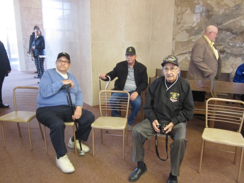 Tony, Romeo and Vince Rendina came early to get good seats. All are veterans who have served their nation with great honor.